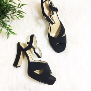 Chinese Laundry Black Criss Cross Chunky Heels 8